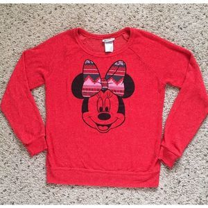 Disney Parks Minnie Mouse Red Light Sweater Top M